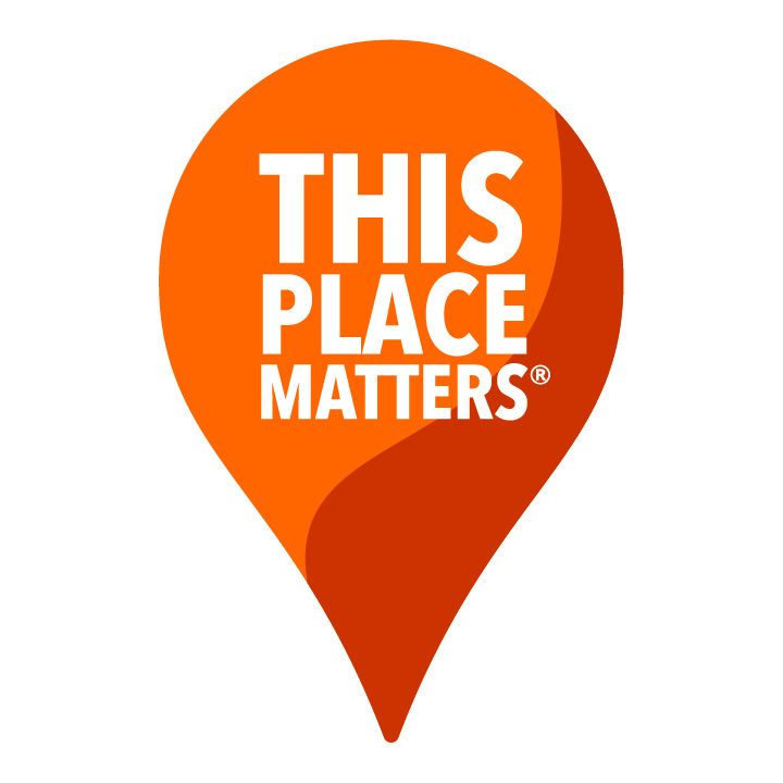 "A two-toned red graphic in the shape of an upside-down teardrop which reads, in white, ""THIS PLACE MATTERS"" - the logo belonging to the National Trust for Historic Preservation."