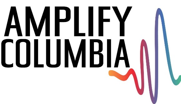 Text reads Amplify Columbia with a multicolored frequency wave to the lower right of the text