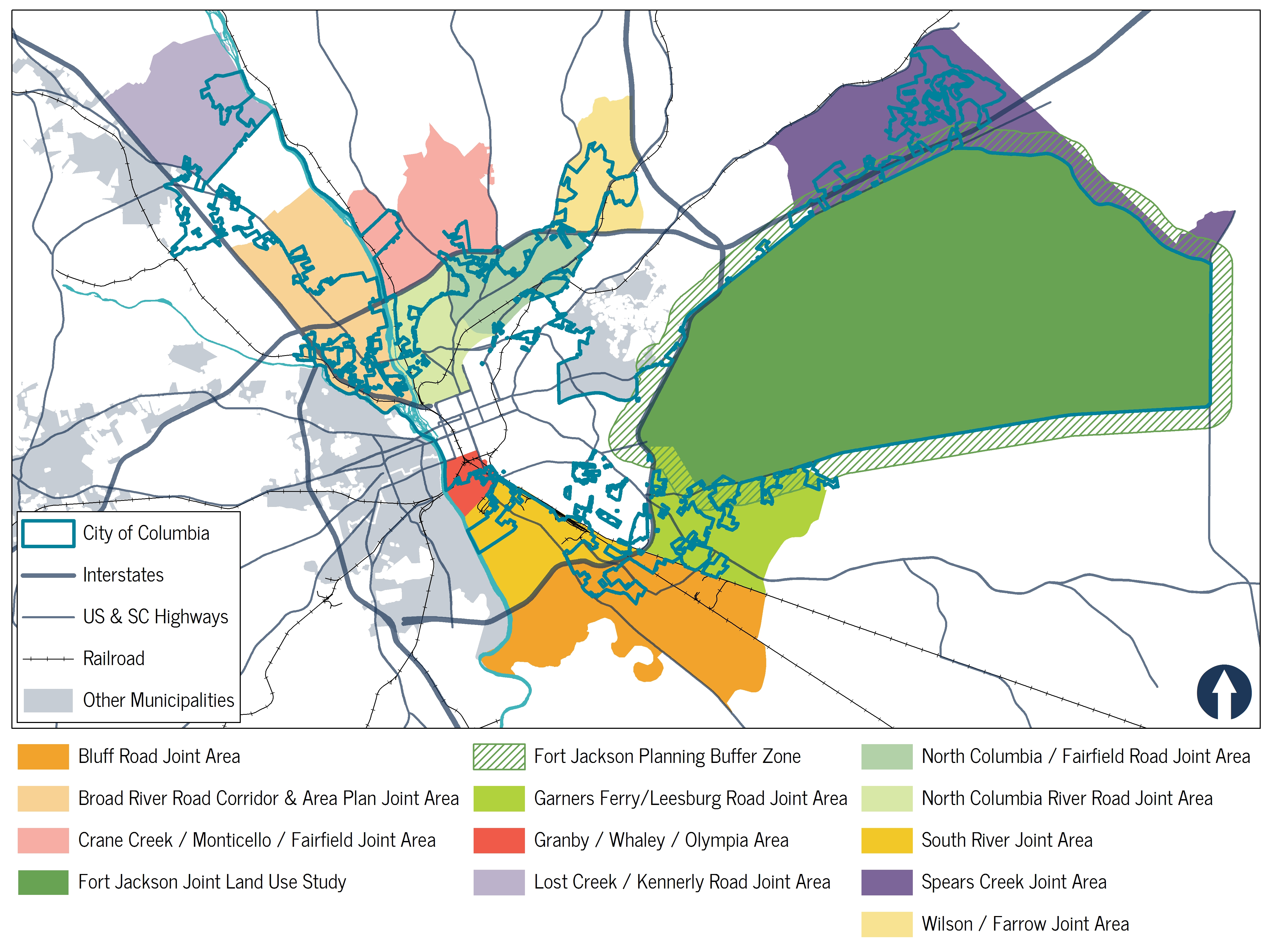 Map of area plans recommended by Plan Columbia: Land Use Plan, dated 2/1/2017