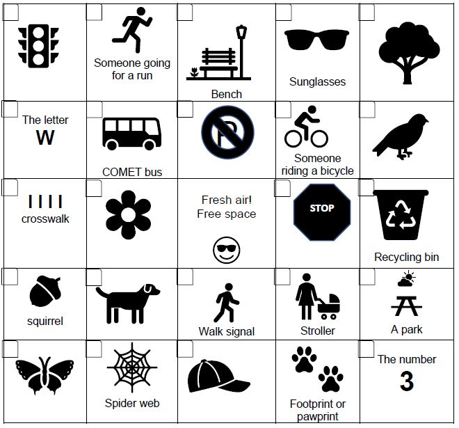 screenshot of elementary school walk bike bingo card