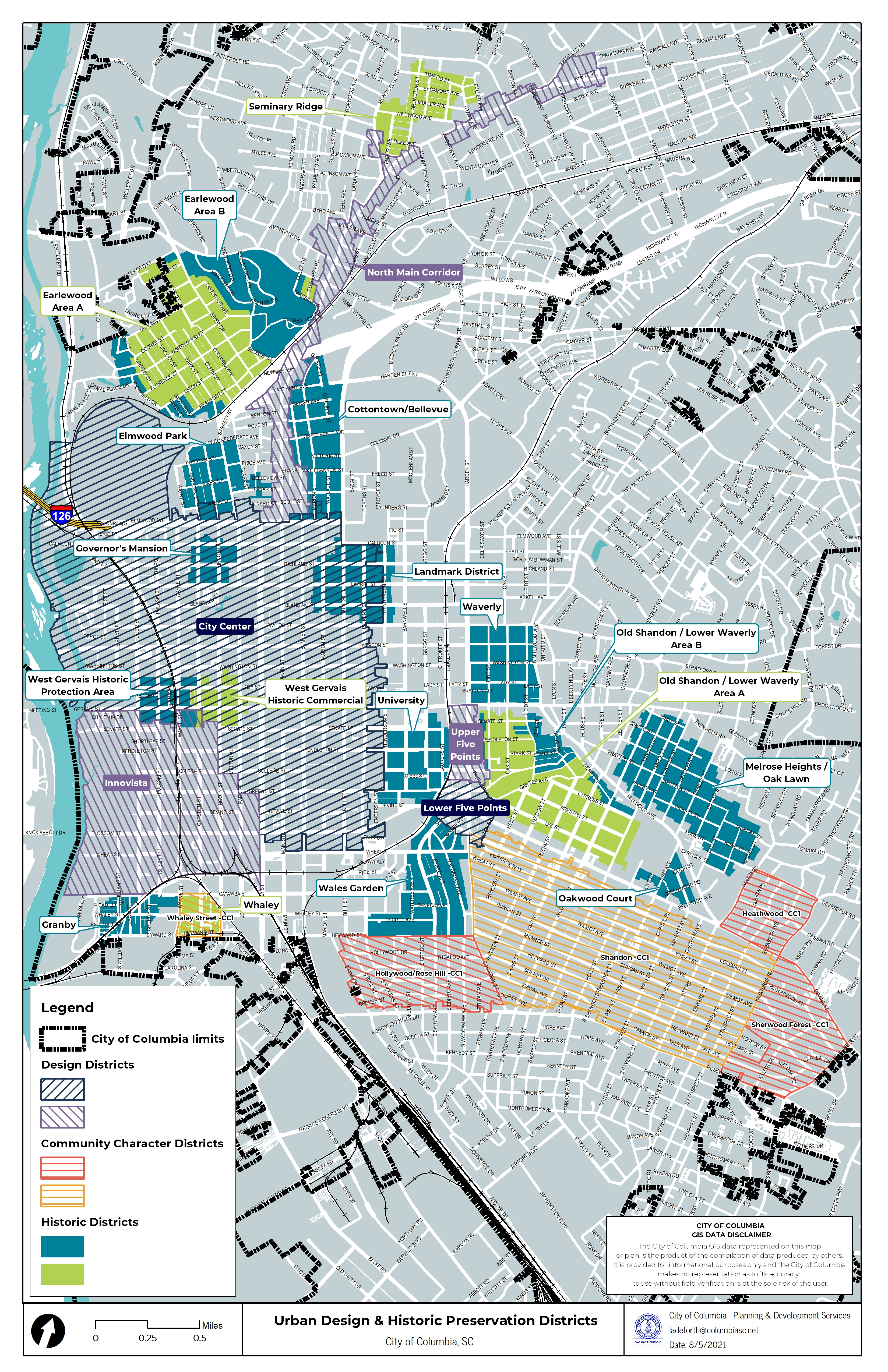 Map of Historic District and Design District Overlays