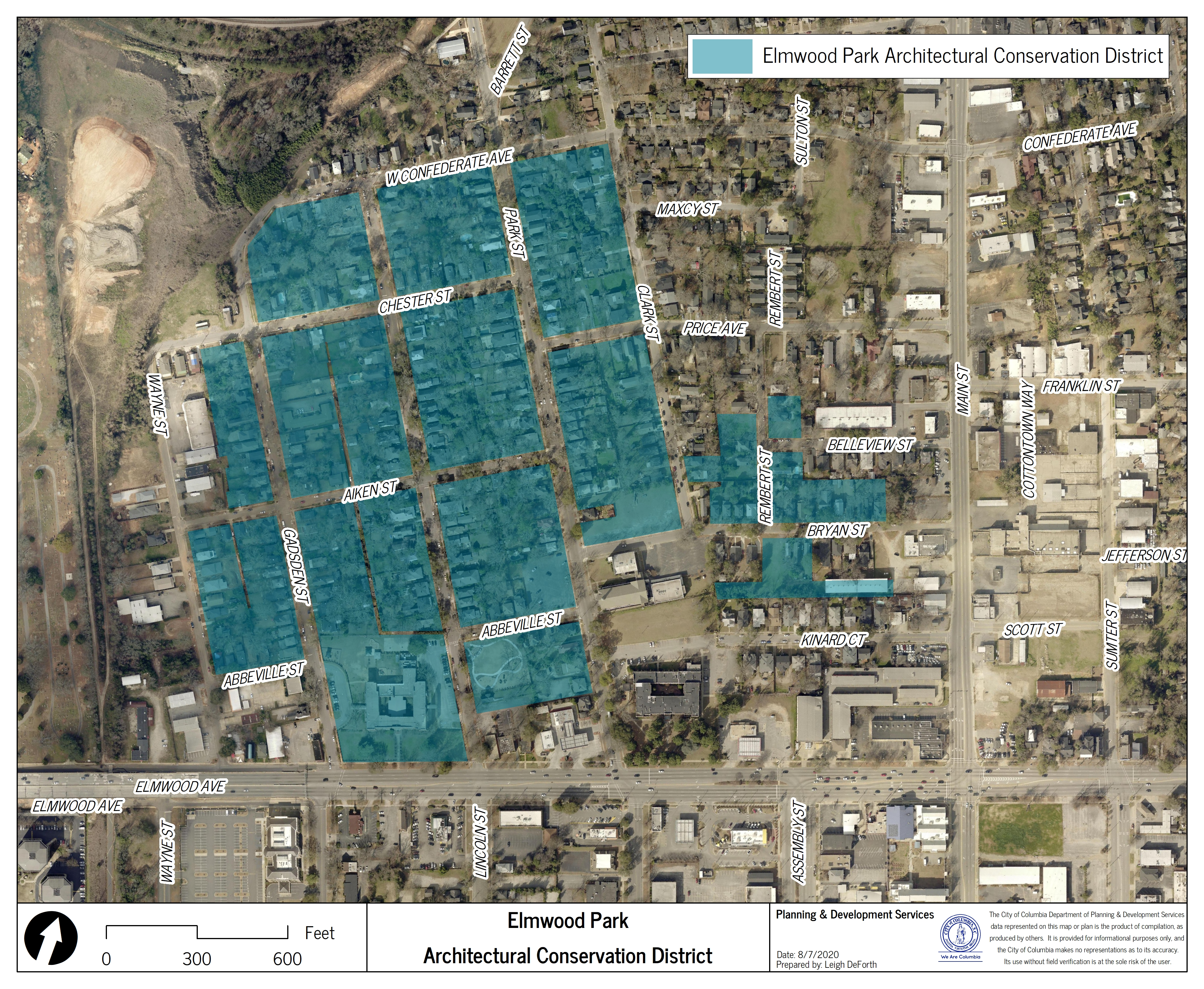 Map of Elmwood Park Architectural Conservation District