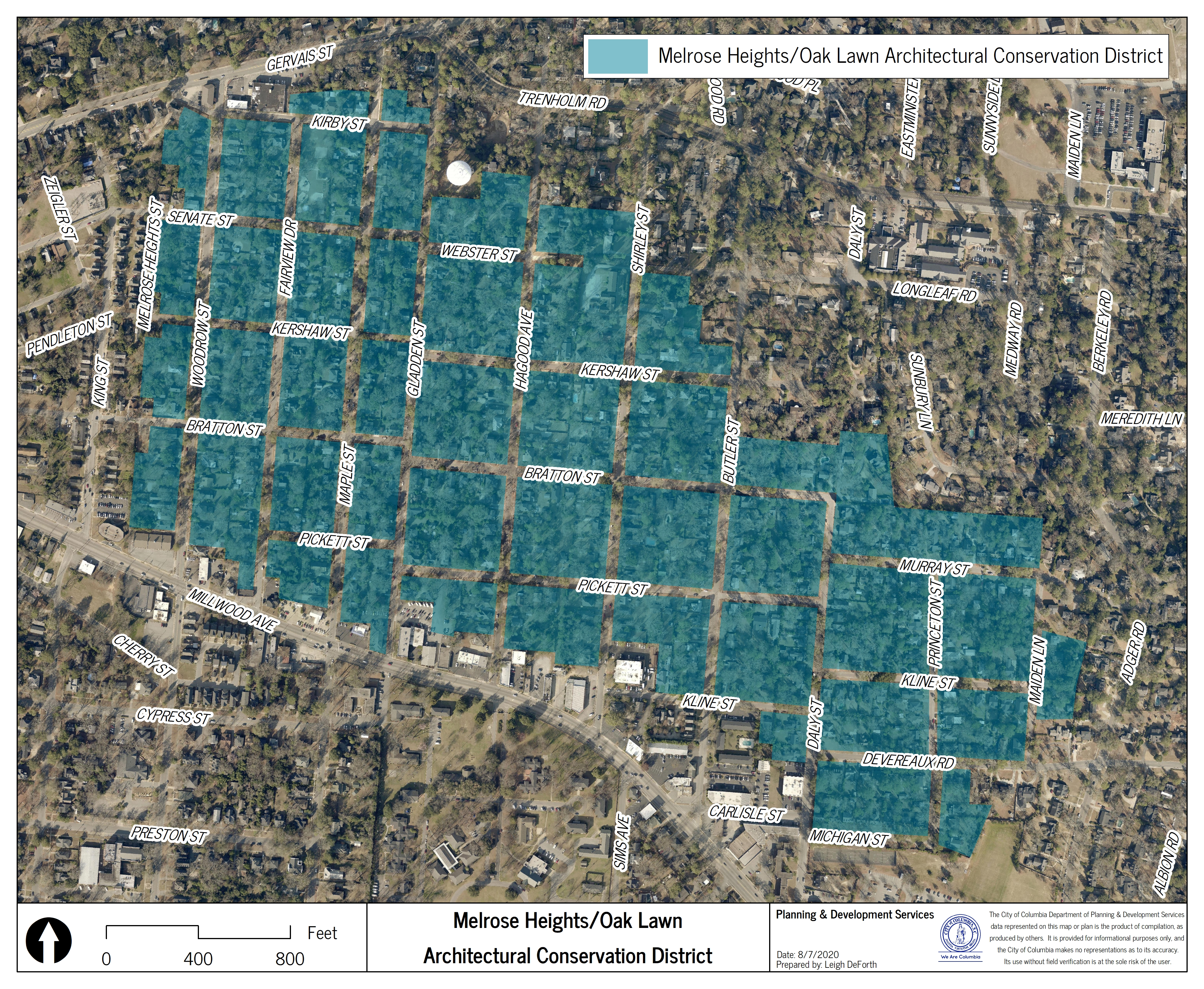 Map of Melrose Heights/Oak Lawn Architectural Conservation District
