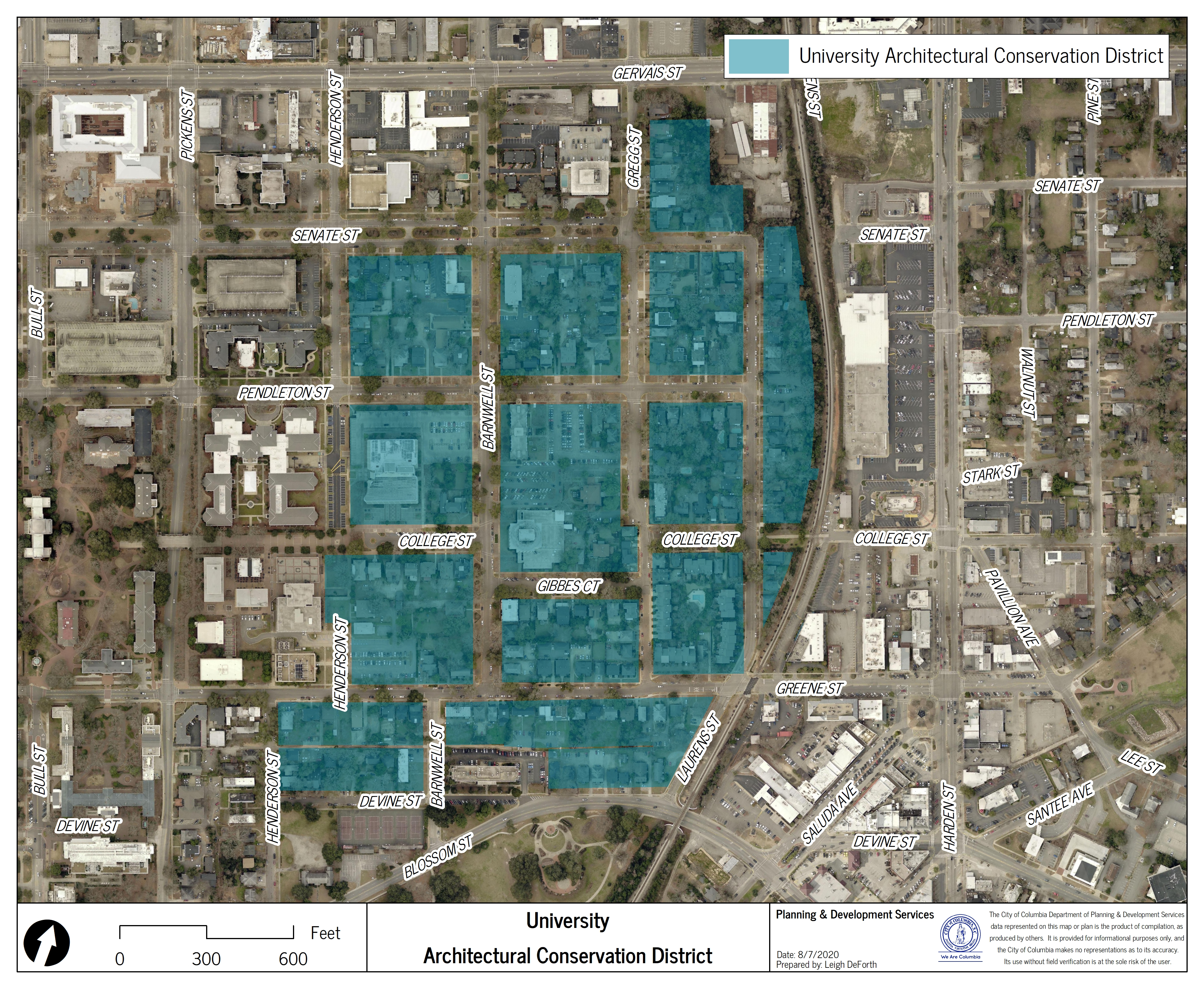 Map of University Architectural Conservation District