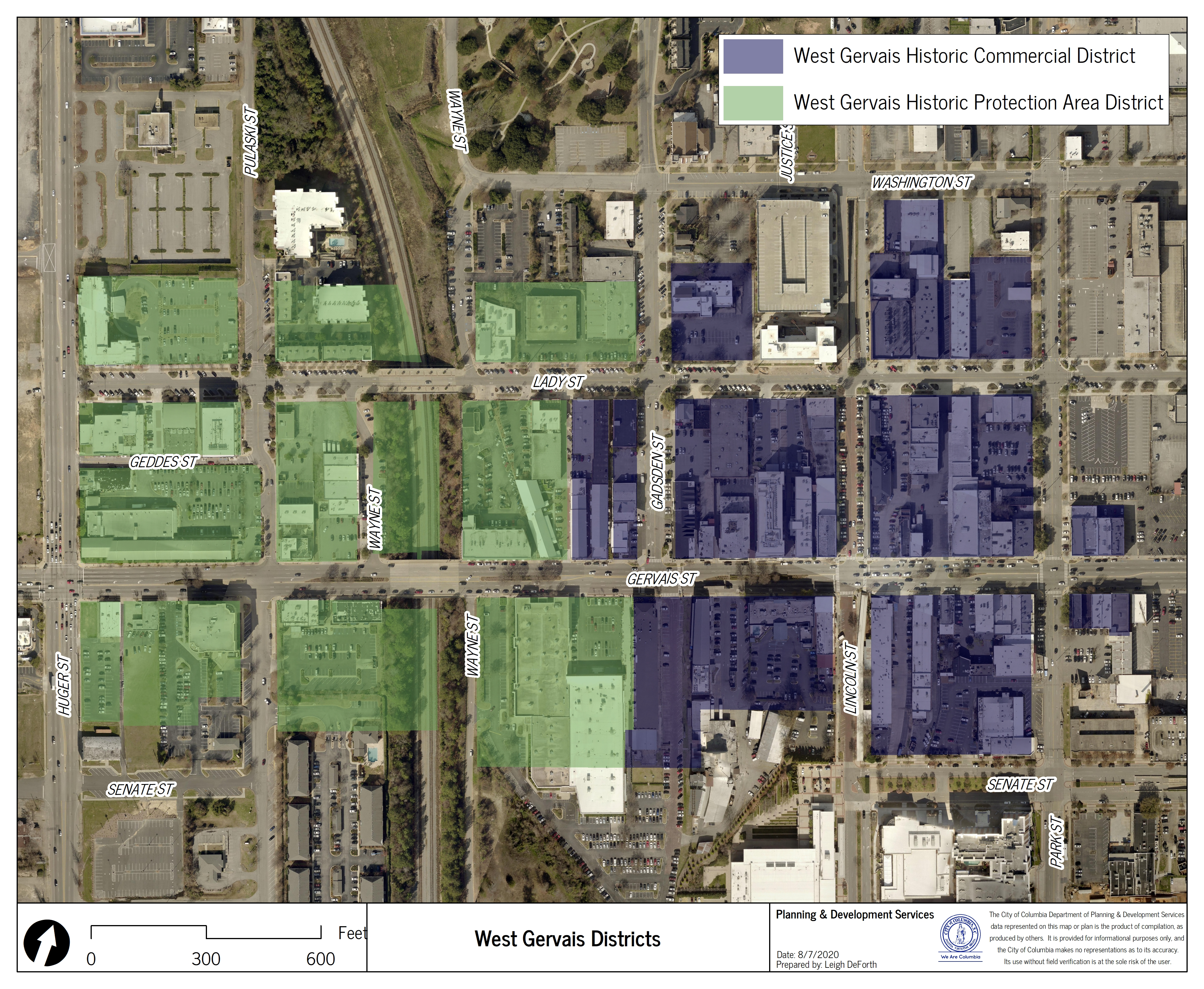 Map of West Gervais Street Historic Commercial District