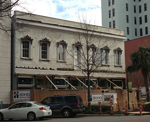 Photo of exterior building renovation along Main Street in downtown Columbia